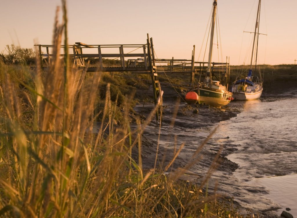 Sailing boats at Gibralta Point near Skegness on Lincolnshire coast.